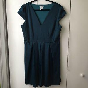 Blue pleated v-neck dress (ModCloth)